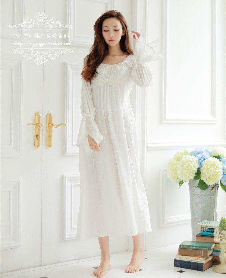 b117ef1481b3f4e Бесплатная Доставка 100% Хлопок Prinsty Ночной Рубашке женская Ночная  Рубашка С Длинным Белый Вышивка Пижамы