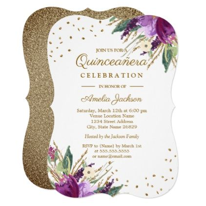 Watercolor Purple Gold Flower Quinceanera Invitation