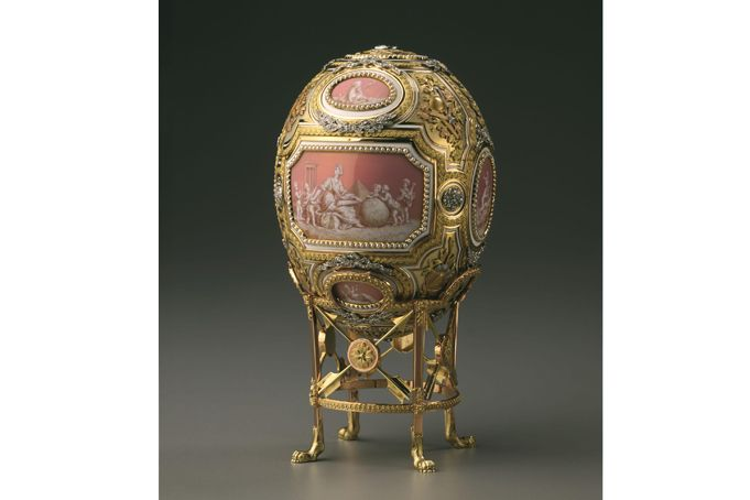 Catherine the Great Easter Egg  Fabergé (firm); Wigström, Henrik Immanuel (workmaster); Zuev, Vasilii Ivanovich (miniatures)  RUSSIA: Saint Petersburg  1914  Gold, diamonds, pearls, opalescent enamel, opaque enamel, silver, platinum, mirror  H. 4 3/4 in. (without stand)  This egg was created for Nicholas II to present to his mother Maria Fedorovna on Easter Morning, 1914.