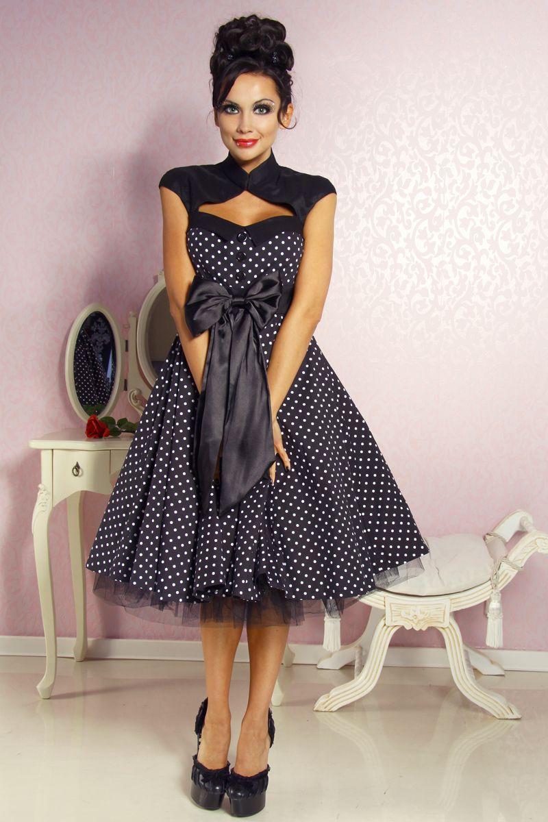 details zu knielanges rockabilly kleid 50er petticoat. Black Bedroom Furniture Sets. Home Design Ideas