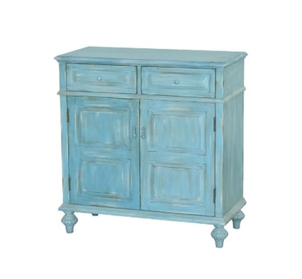 Madison Blue Wood Rectangle Accent Chest W/doors
