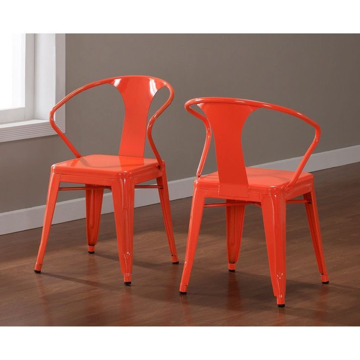 Etonnant Set Of 4 Orange Metal Chairs In Glossy Powder Coated Finish Steel Stackable  D...: Home U0026 Kitchen