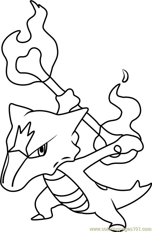 Alola Marowak Pokemon Sun And Moon Coloring Page Moon Coloring Pages Pokemon Coloring Pages Pokemon Coloring