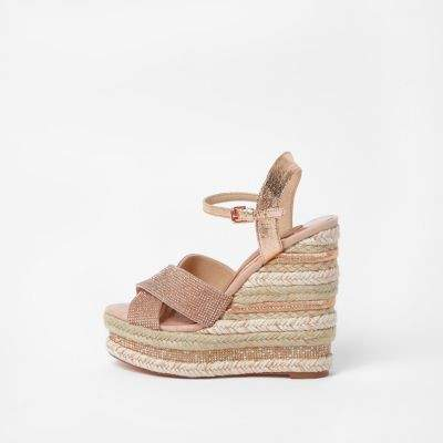 ef1379ab269 Pink metallic wide fit diamante wedge sandals | Products | Wedge ...