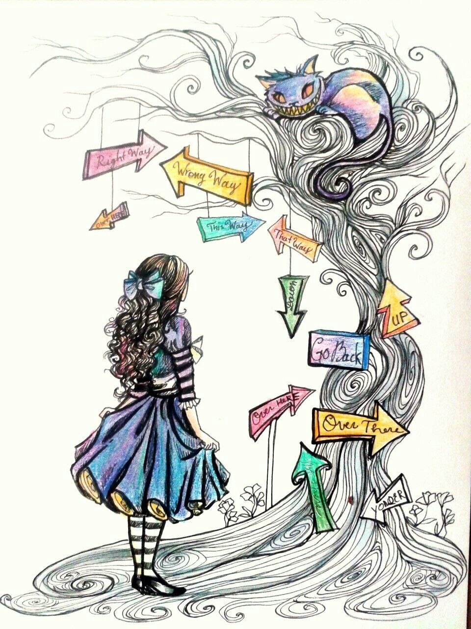 Cute Wonderland Art Alice And Cheshire Dibujos Dibujos