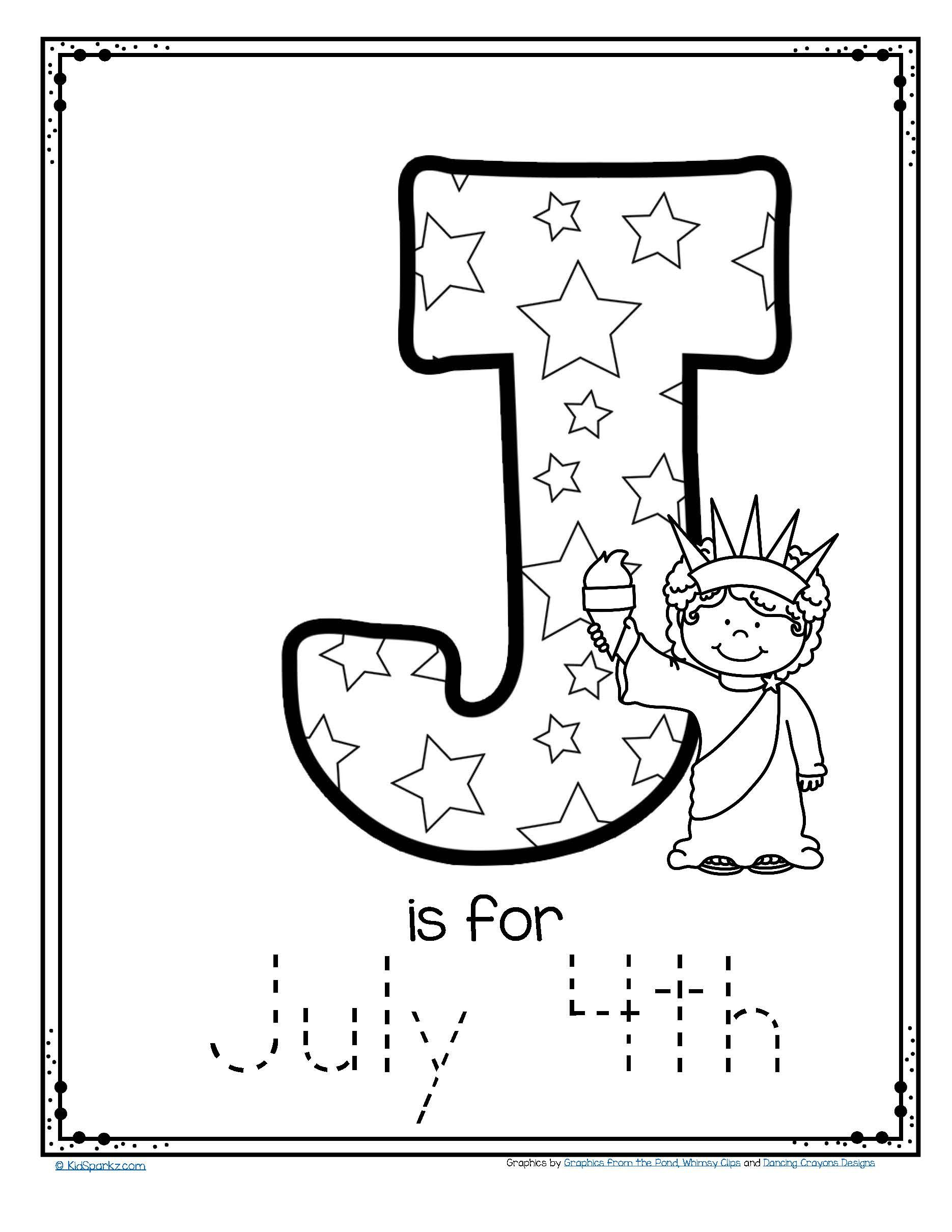 Free J Is For July 4th Trace And Color Alphabet Printable