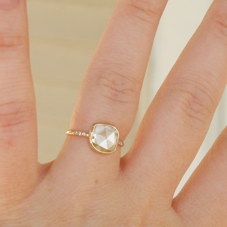 Diamond Ring Rose Cut Diamond Slice in 14K Gold Engagement Ring