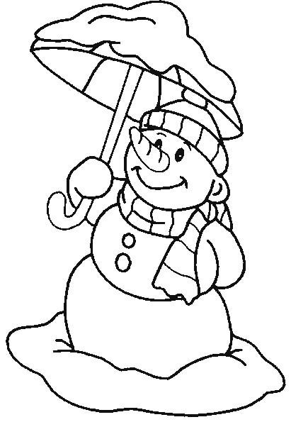 snowman carrying an umbrella coloring pages  snowman