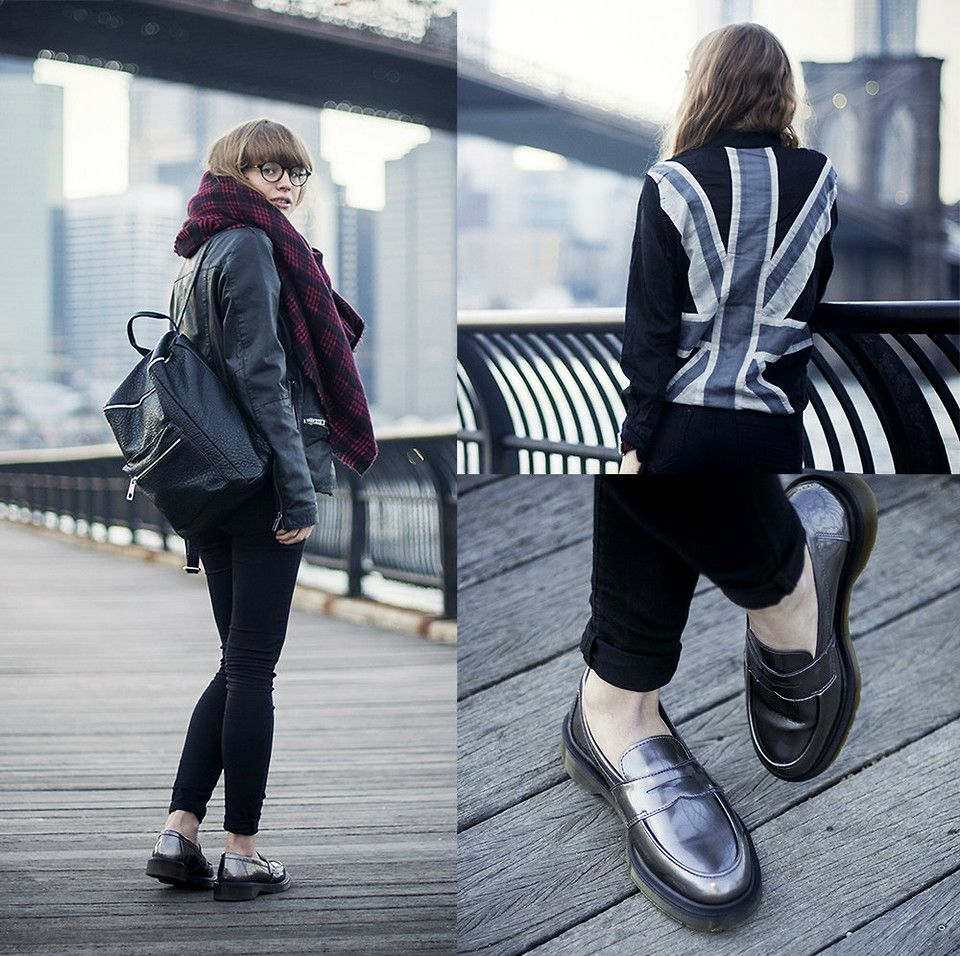I STAND FOR... (by Lisa Dengler) http://lookbook.nu/look/5573215-Dr-Martens-Abby-Penny-Loafers-Union-Jack-Shirt