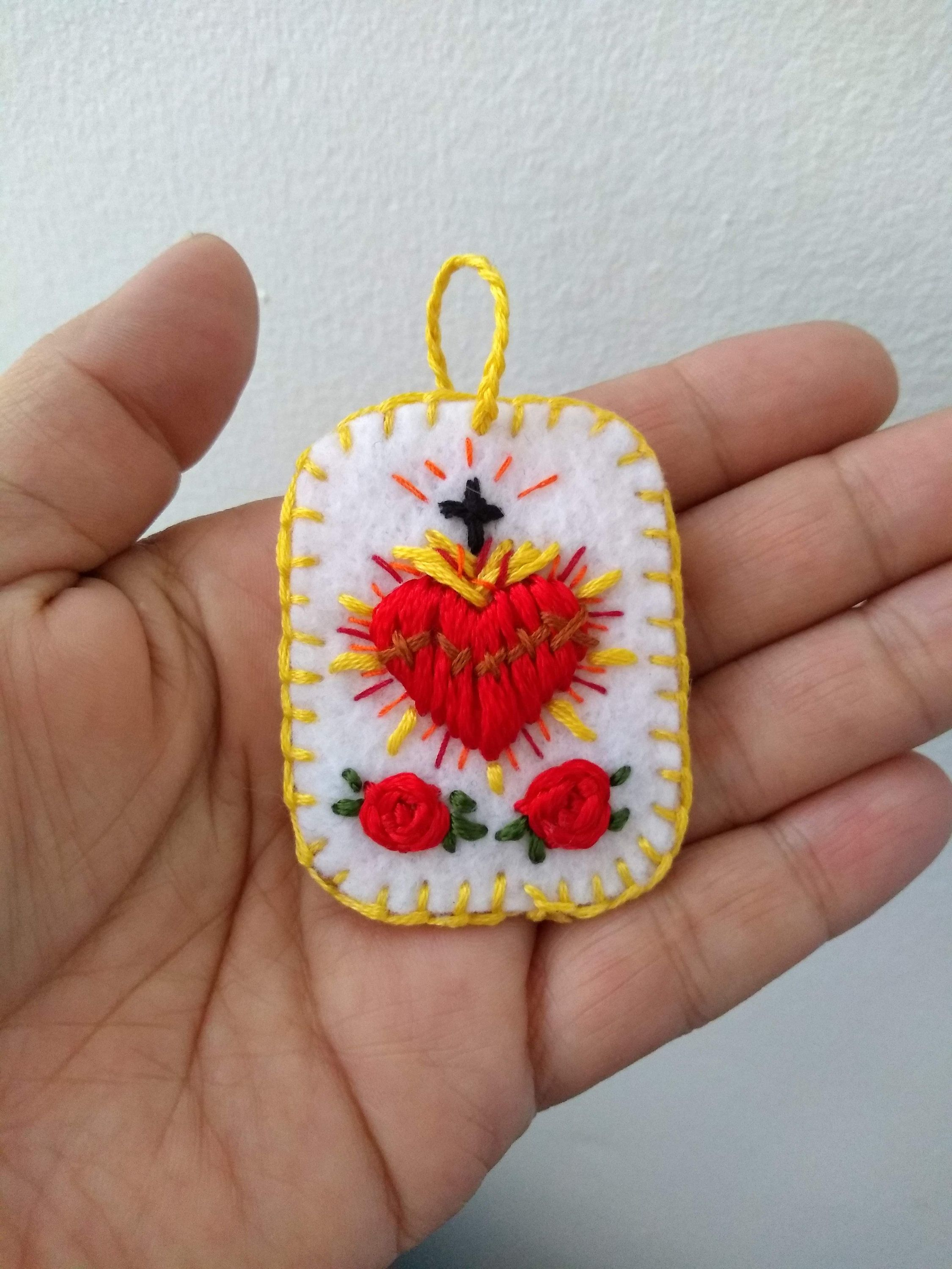 Embroidered Sacred Heart Detente Sagrado Corazon Sagrado