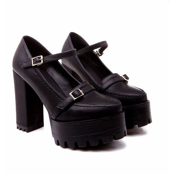 Carolbar Women's Fashion Cosplay Buckle Lolita Style Gothic Platform... ($35) ❤ liked on Polyvore featuring shoes, mary-jane shoes, gothic shoes, mary jane platform shoes, chunky heel shoes and platform mary janes