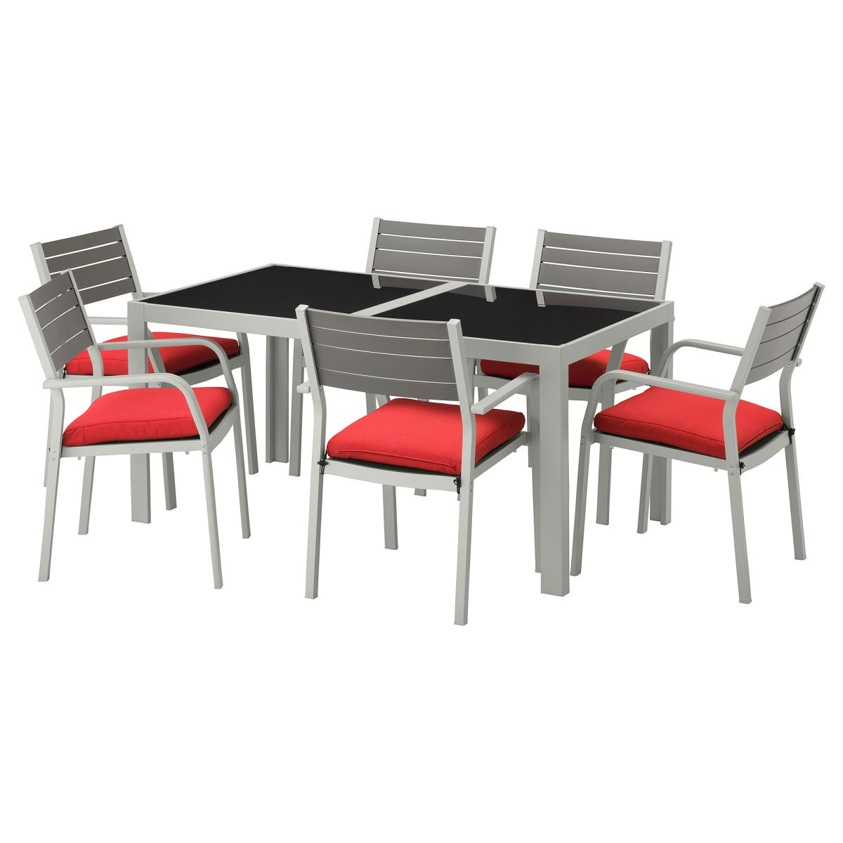 sjÄlland, tisch+6 armlehnstühle/außen, glas, rot jetzt bestellen