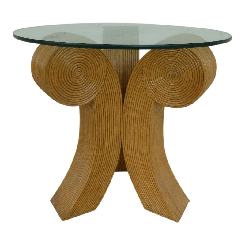 1970 S Mid Century Modern Bent Rattan Joined Comma Trefoil Occasional Table Rattan Midcentury Modern Table