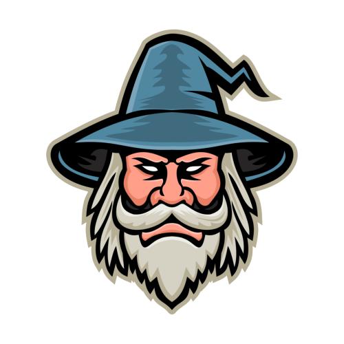 Black Wizard Head Mascot In 2021 Wizards Logo Art Logo Wizard Drawings