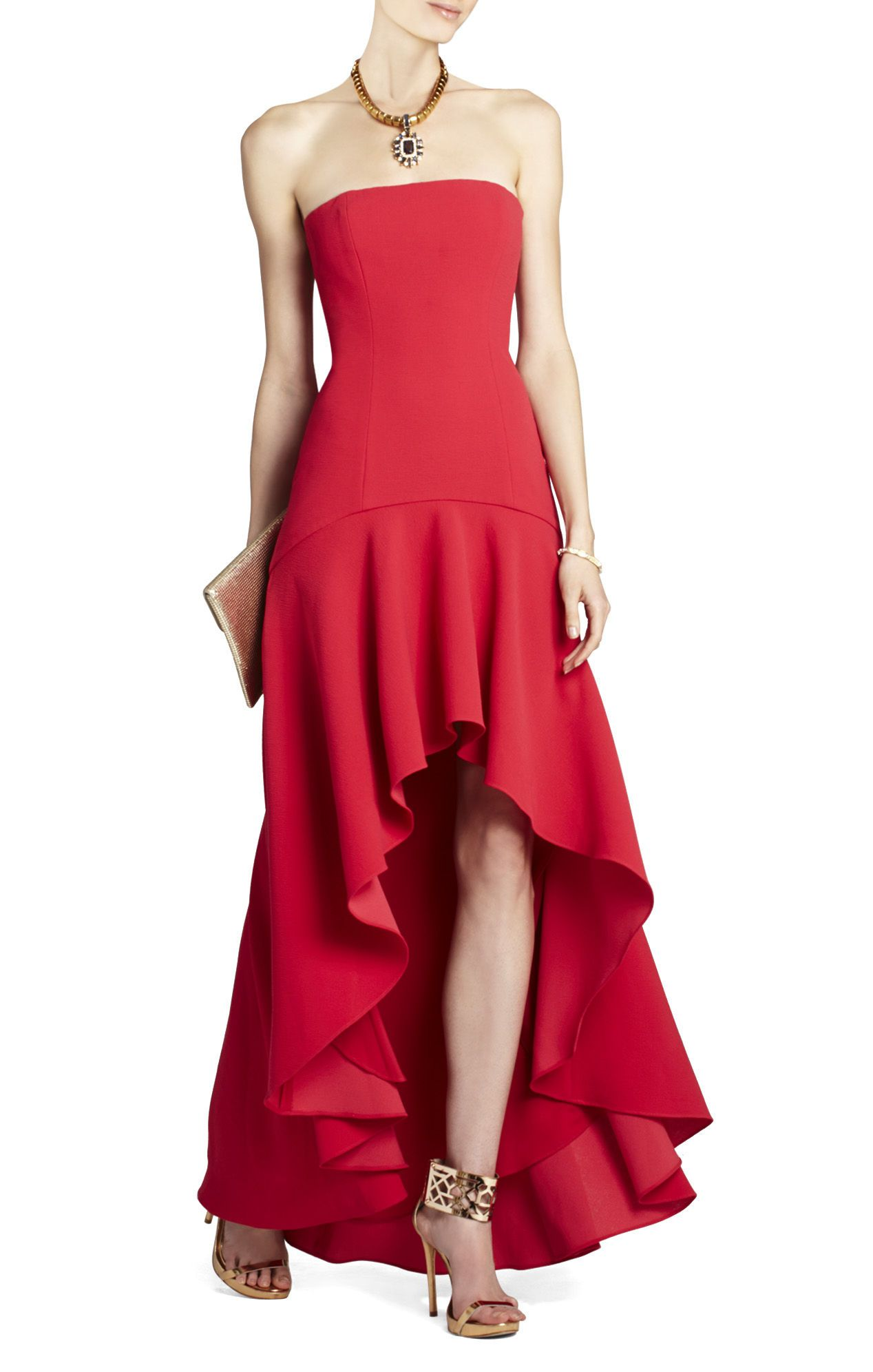 Evangelina Fitted Strapless High Low Dress Bcbg Midi Cocktail Dress High Low Gown Fashion