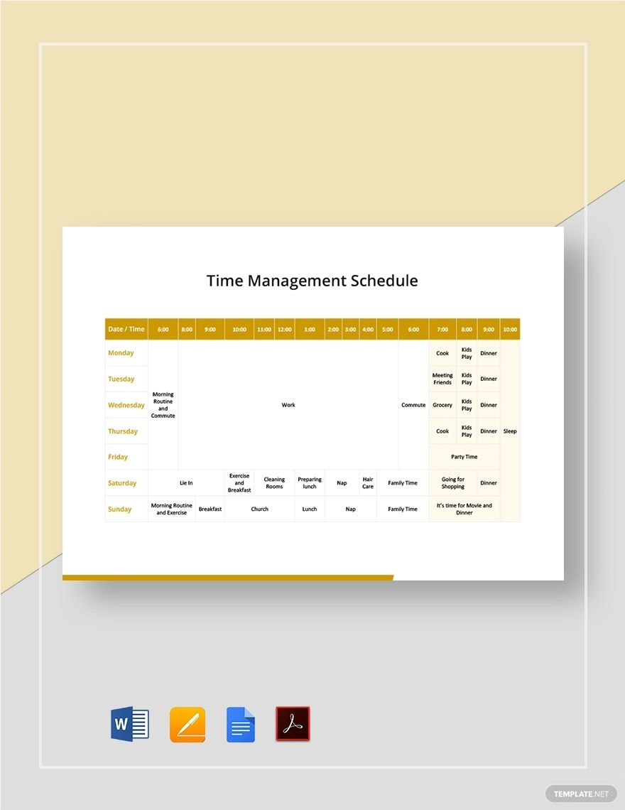 Time Management Schedule Template Pdf Word Doc Apple Mac Pages Google Docs Schedule Template Time Management Schedule Templates