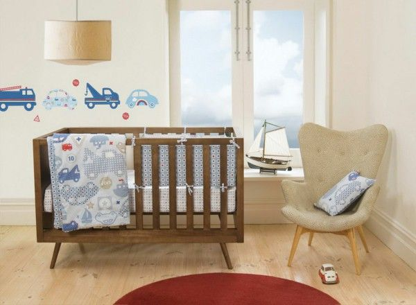 Baby room set round red carpet chair wall sticker
