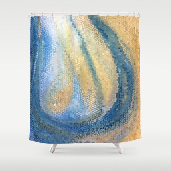 Blue And Tan Shower Curtain Ocean Wave