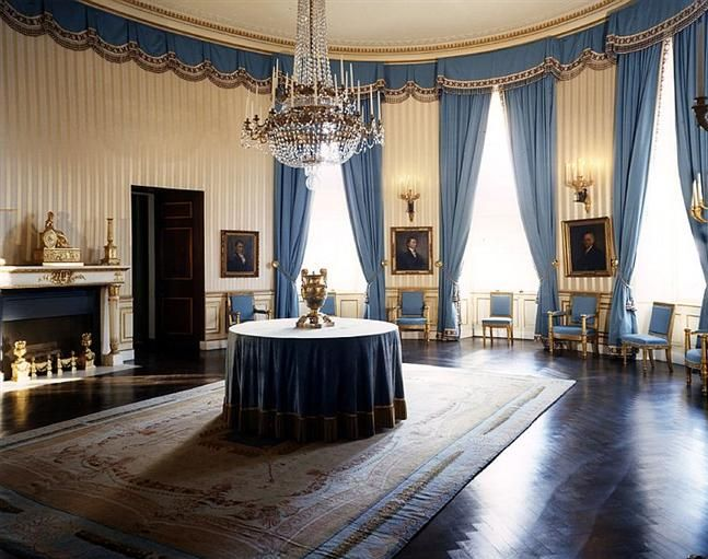 The Oval Blue Room On The State Floor As Seen After The Kennedy