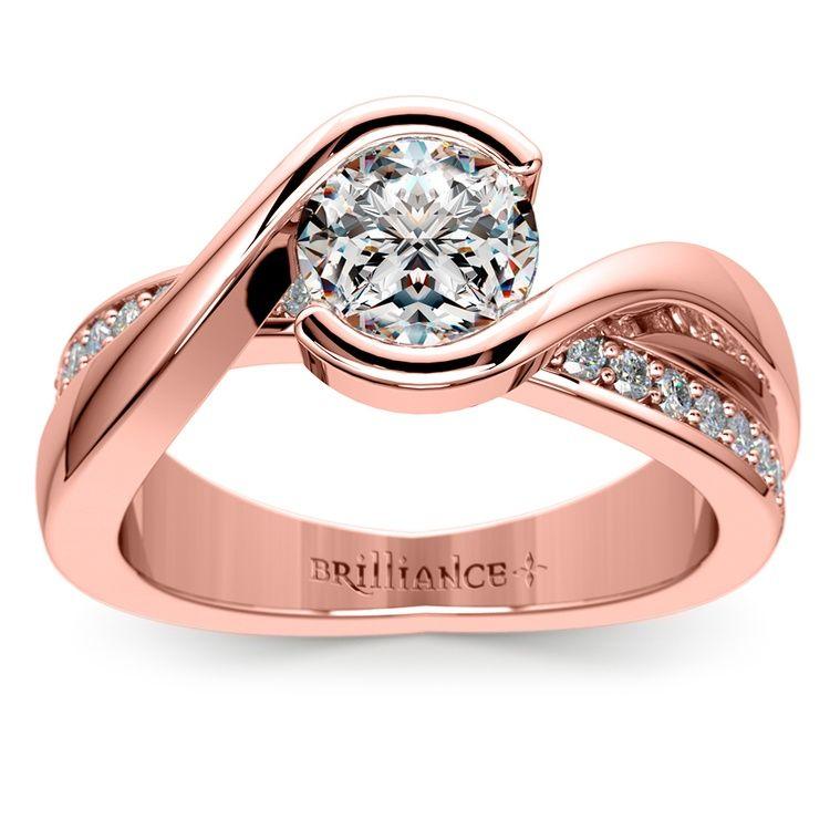 Gemstone Engagement Rings Chicago: Bezel Diamond Bridge Engagement Ring In Rose Gold