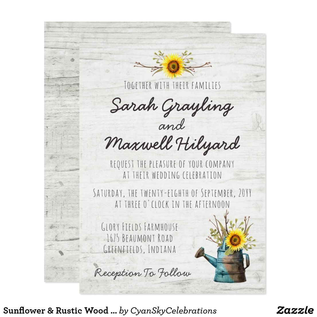 Sunflower & Rustic Wood Farm Wedding Invitation by CyanSkyCelebrations on Zazzle