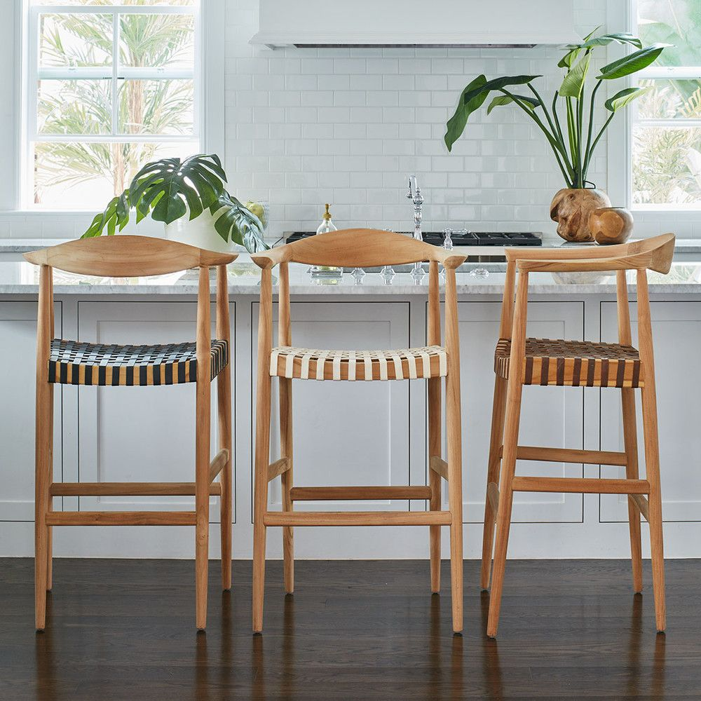 Teak And Woven Leather Bar Stool Black Casas