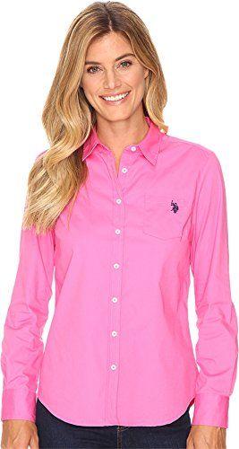 U.S Polo Assn Womens Solid Single Pocket Long Sleeve Shirt