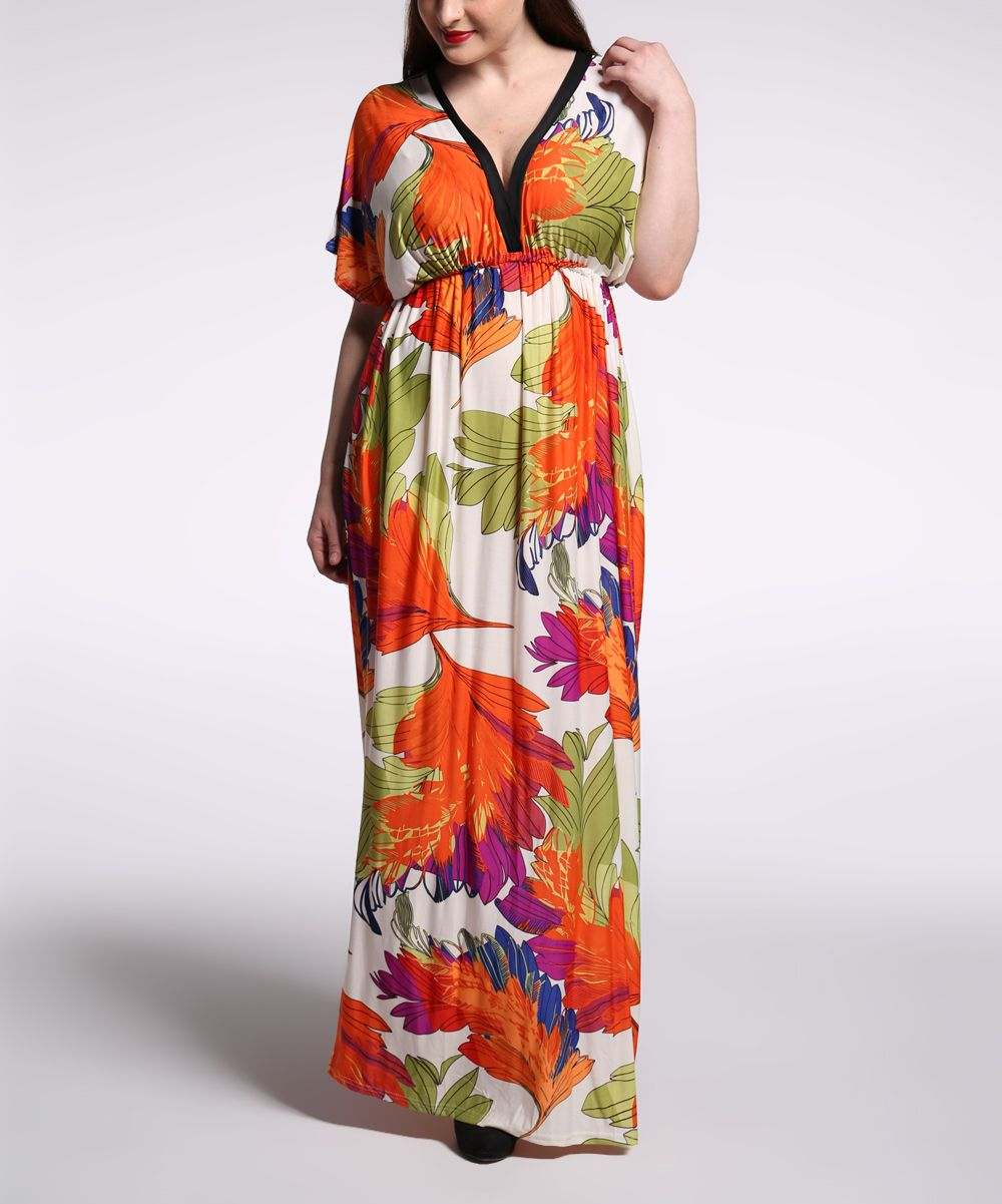 Orange u green foliage capesleeve maxi dress plus too products