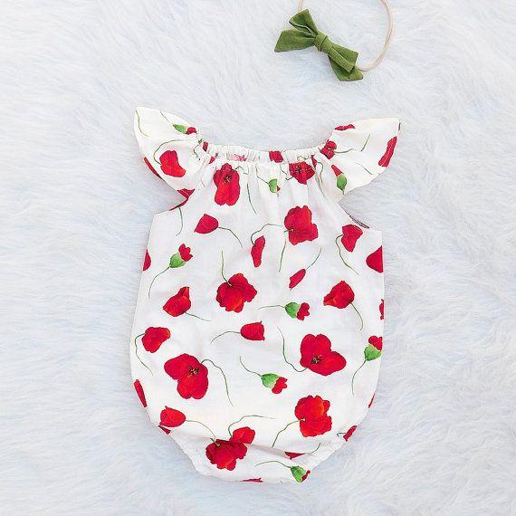 d60c4976b Poppy Flower Baby Girl Romper | Flutter sleeve or Long Sleeve| Valentines  Day Outfit