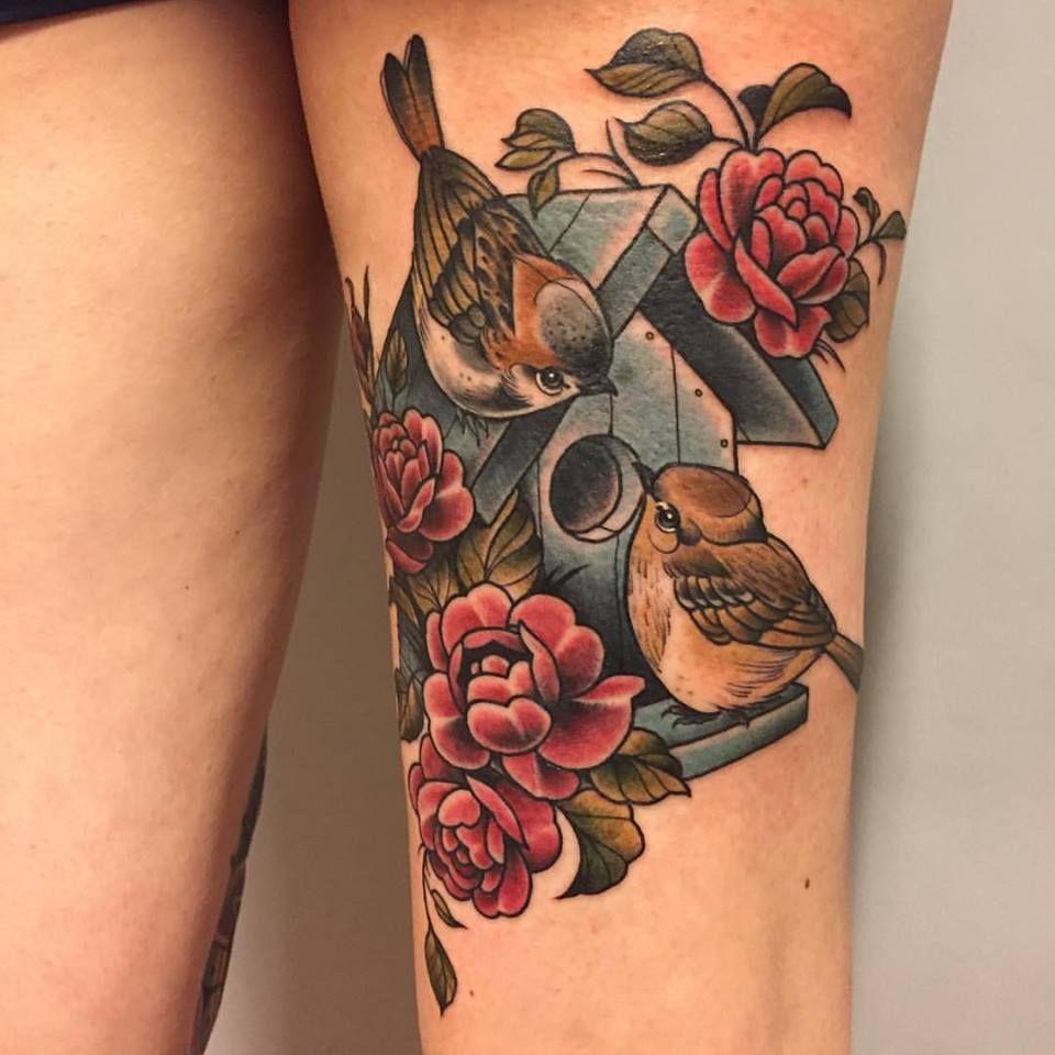 tattoo von kristin holy diver tattoo spatz sparrow vogelhaus vogelpaar hochzeit. Black Bedroom Furniture Sets. Home Design Ideas