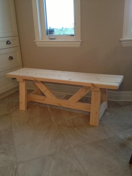 Farmhouse Bench In 1 Day First Project Do It Yourself Home Projects From Ana White Furniture Diy Home Projects Home Diy