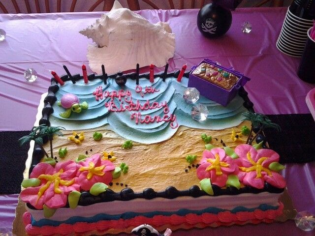 Beach Theme Cake for Girls Pirate Party publix barbie treasure