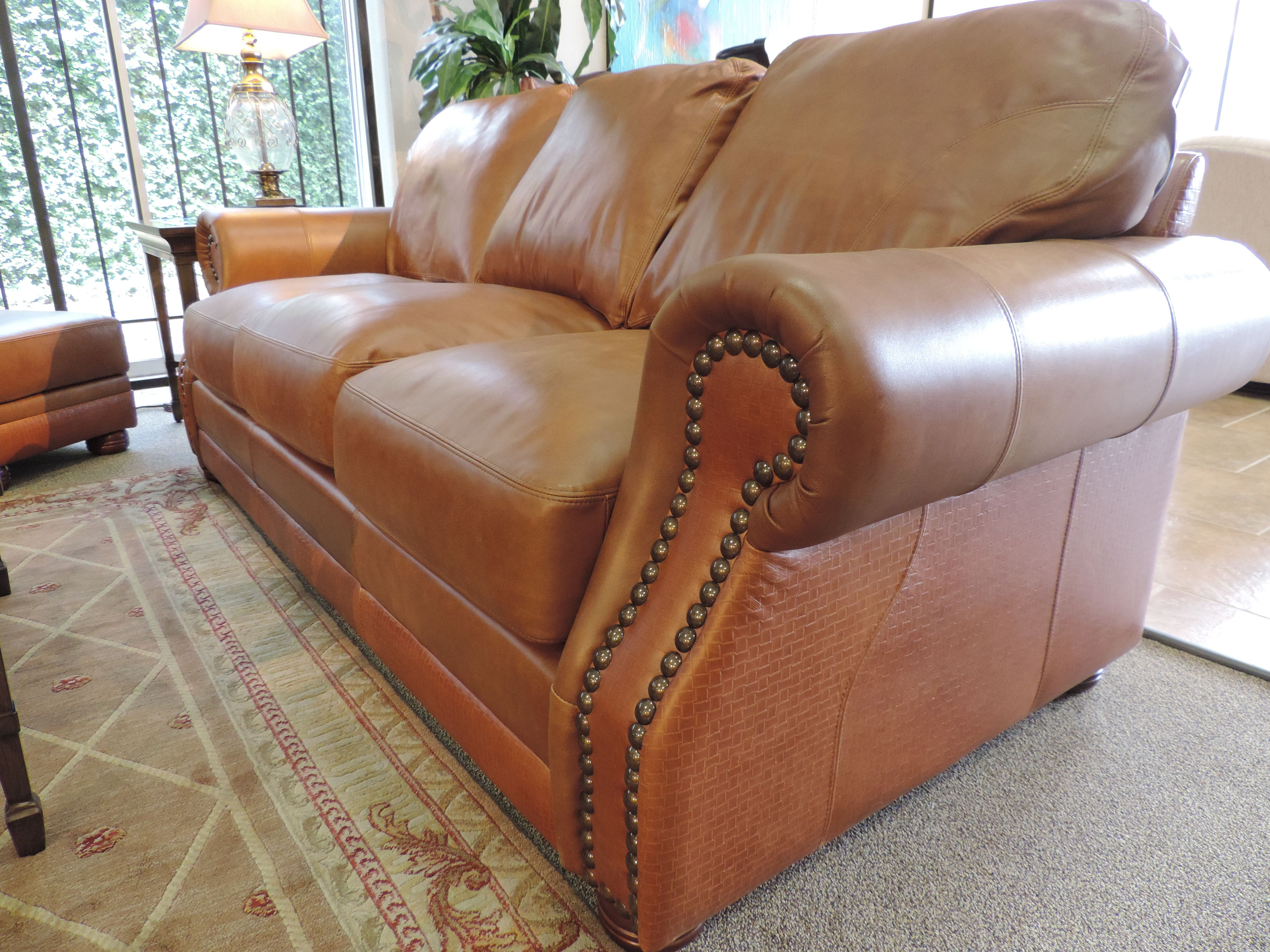 Unique Leather Sofa Has Embossed Basket Weave Texture With Nail Head Finish Leather Sofa Leather Furniture Sofa