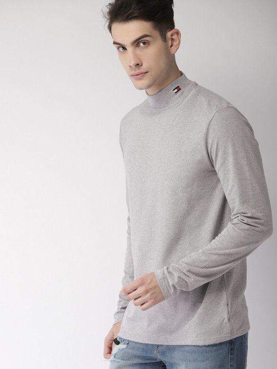 ce9b8a1c Tommy Hilfiger Men Grey Melange Solid High Neck T-shirt - | 1609. Visit.  April 2019