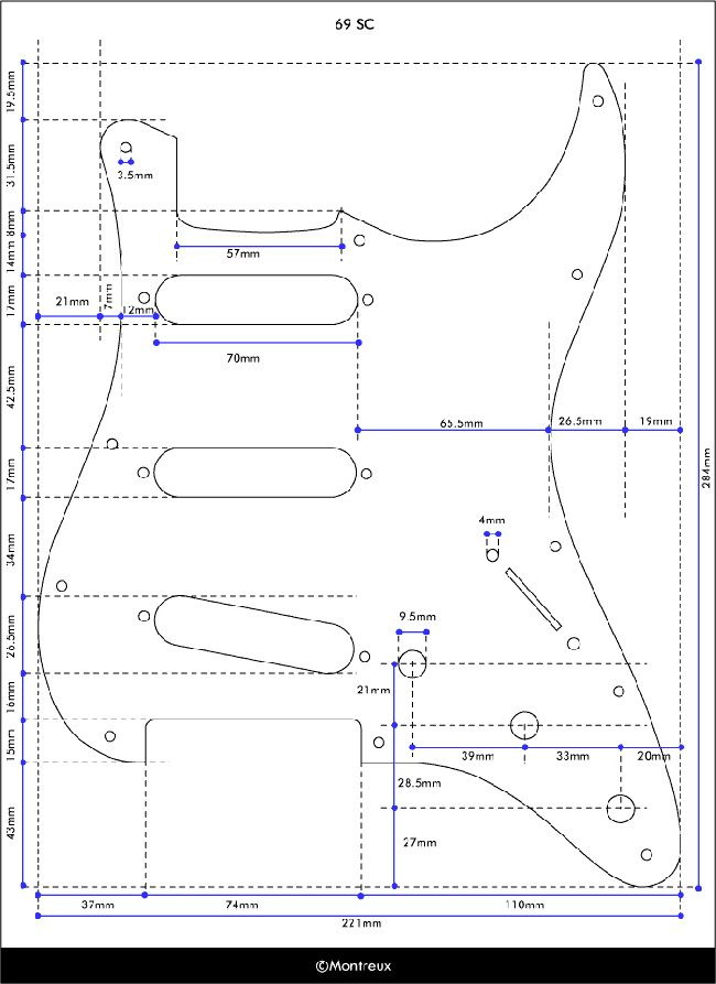Exact Dimensions Of A Stratocaster Pickguard