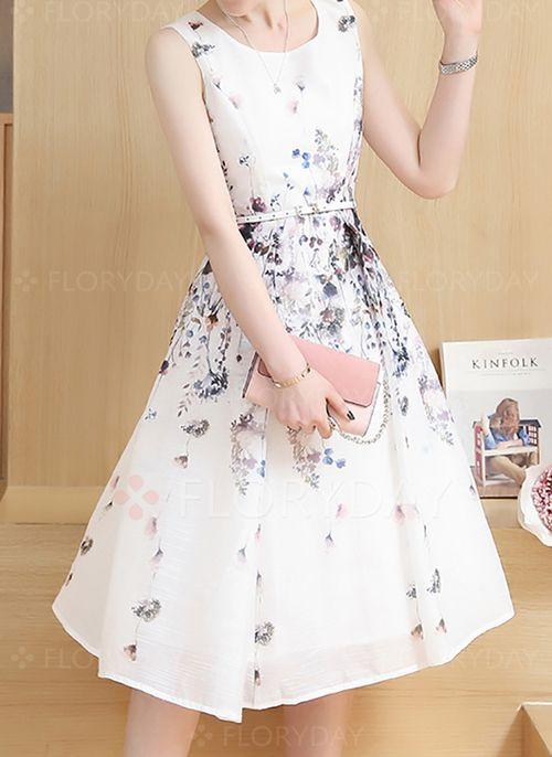 Lässige Kleidung Ärmellos Blumen Knielang Chiffon Kleider | Chiffon ...