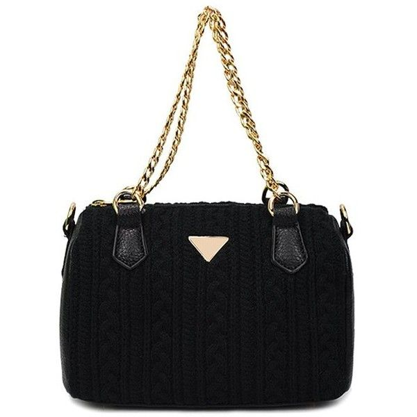 Solid Color Knitting Chains Tote Bag ($28) ❤ liked on Polyvore featuring bags, handbags, tote bags, knit handbags, black tote, black purse, black tote purse and chain handbags