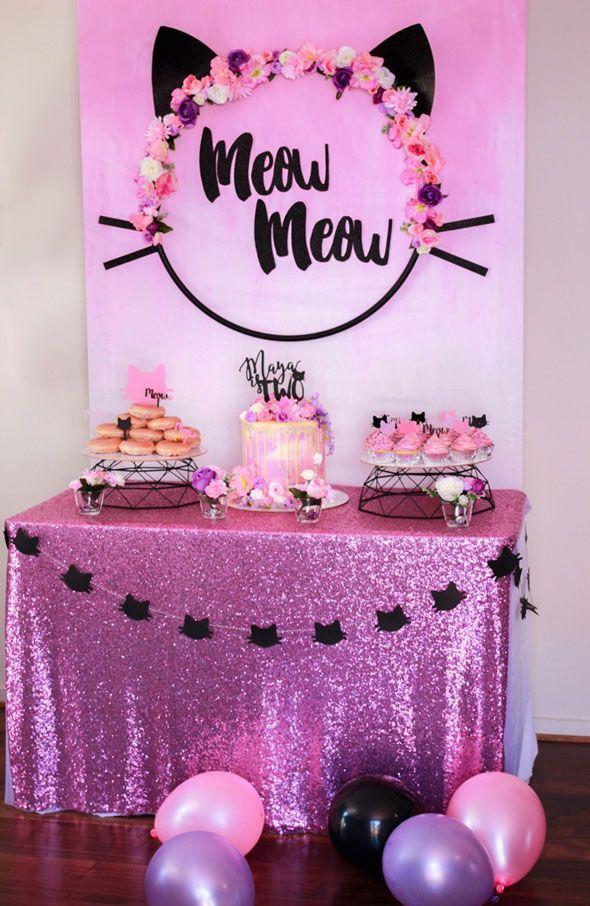 Meow Meow Birthday Party dessert table via Pretty My Party