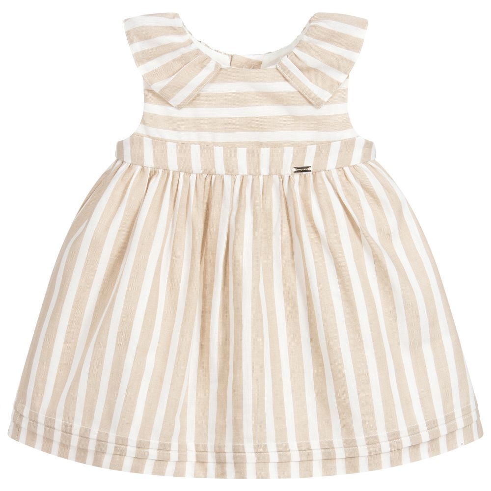 a16a2fa94c2c Baby girls beige and white striped dress and knickers set from Mayoral  Newborn. Made in