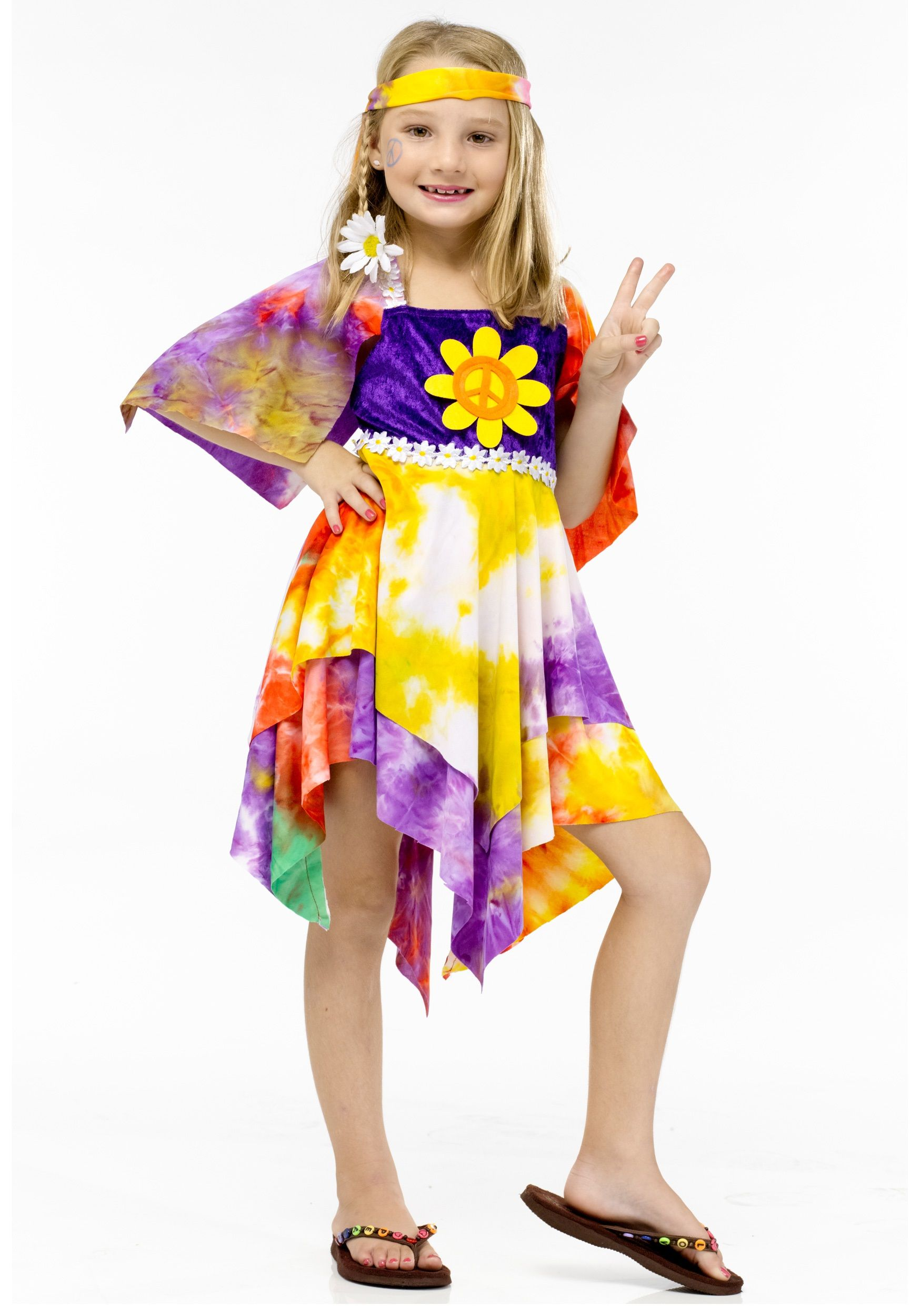 Girls Flower Power Hippie Costume - Retro Costume Ideas for Kids ...