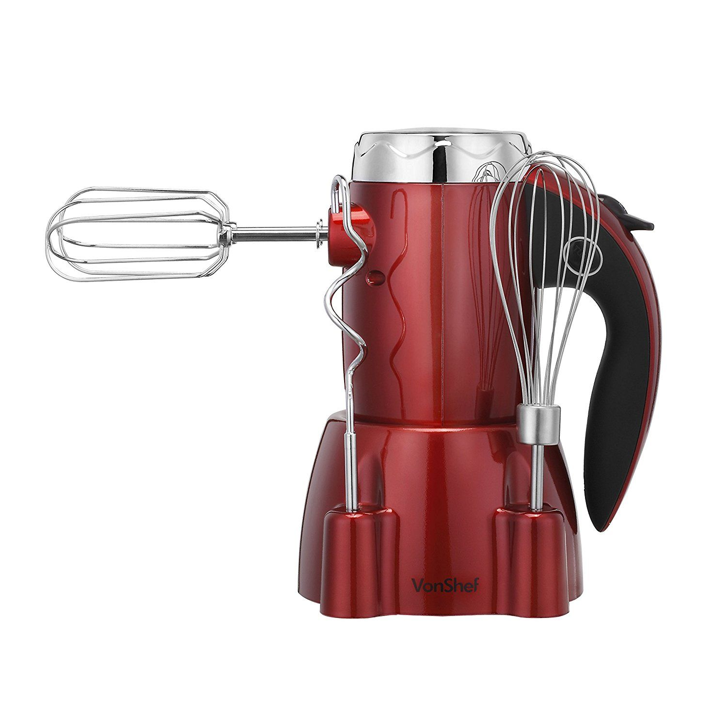 Vonshef 250w 6 Speed Hand Mixer Whisk With Stand Includes 2 Dough Hooks 2 Beaters Plus Turbo Function Red This Is An Amazon Hand Mixer Hand Blender Blender