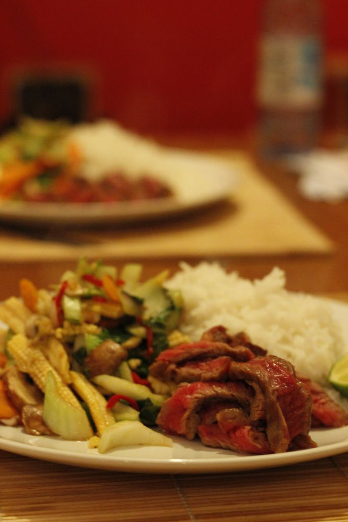 Steak and stir fry vegetables