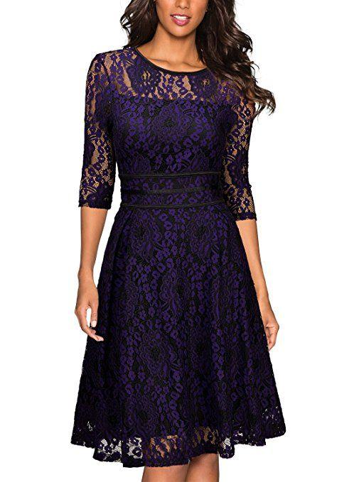 Damen 3//4 Arm Abendkleid mit Spitze Party Cocktailkleid Brautjungfer Lang Kleid