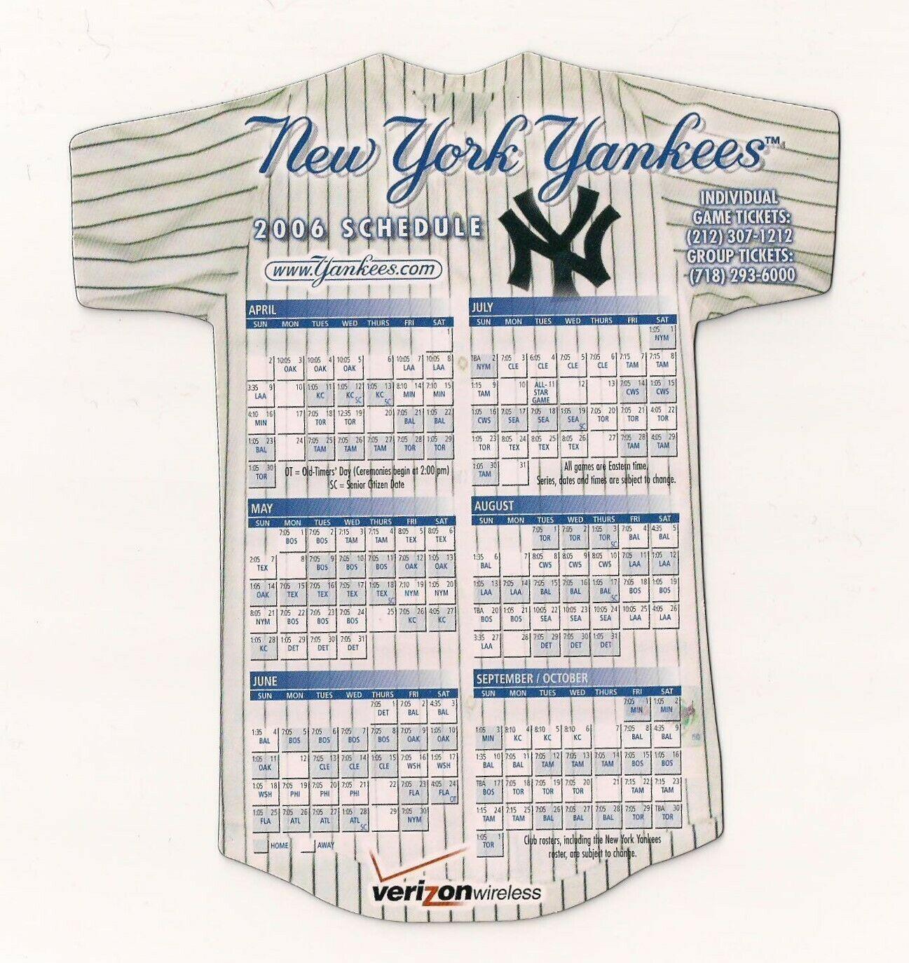 2006 New York Yankees Baseball Magnet Schedule Verizon Wireless In 2020 New York Yankees Baseball Yankees Baseball Baseball Magnets