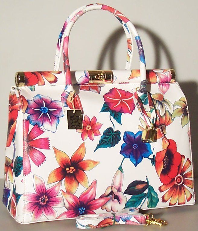 NEW Genuine Made in Italy Real Leather Handbag Purse White flowers 1306 bag