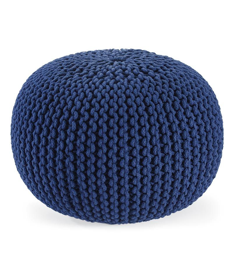 Hand Knitted Pouf Ottoman Plow Hearth Knitted Pouf Pouf