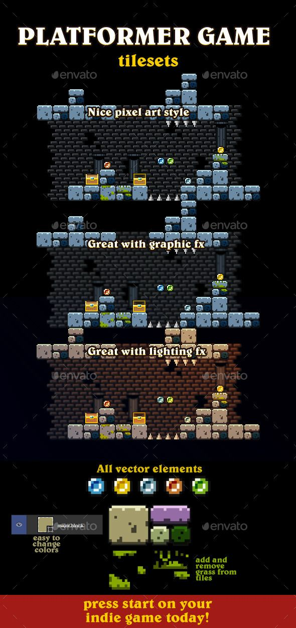 Vector Pixel Art Tileset — Photoshop PSD #fun #colors • Available here → https://graphicriver.net/item/vector-pixel-art-tileset/9535110?ref=pxcr
