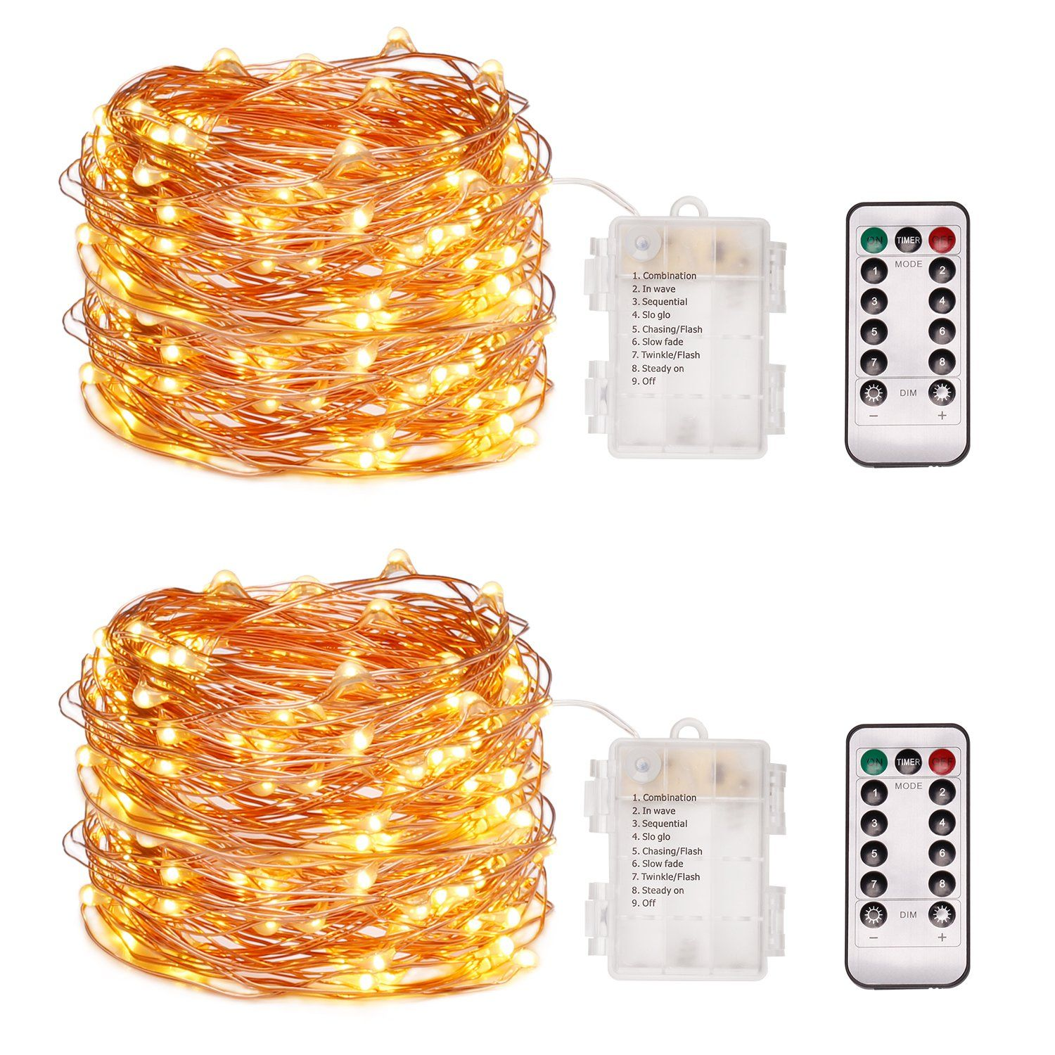 WiHoo Christmas Lights String Lights Dimmable With Remote Control ...