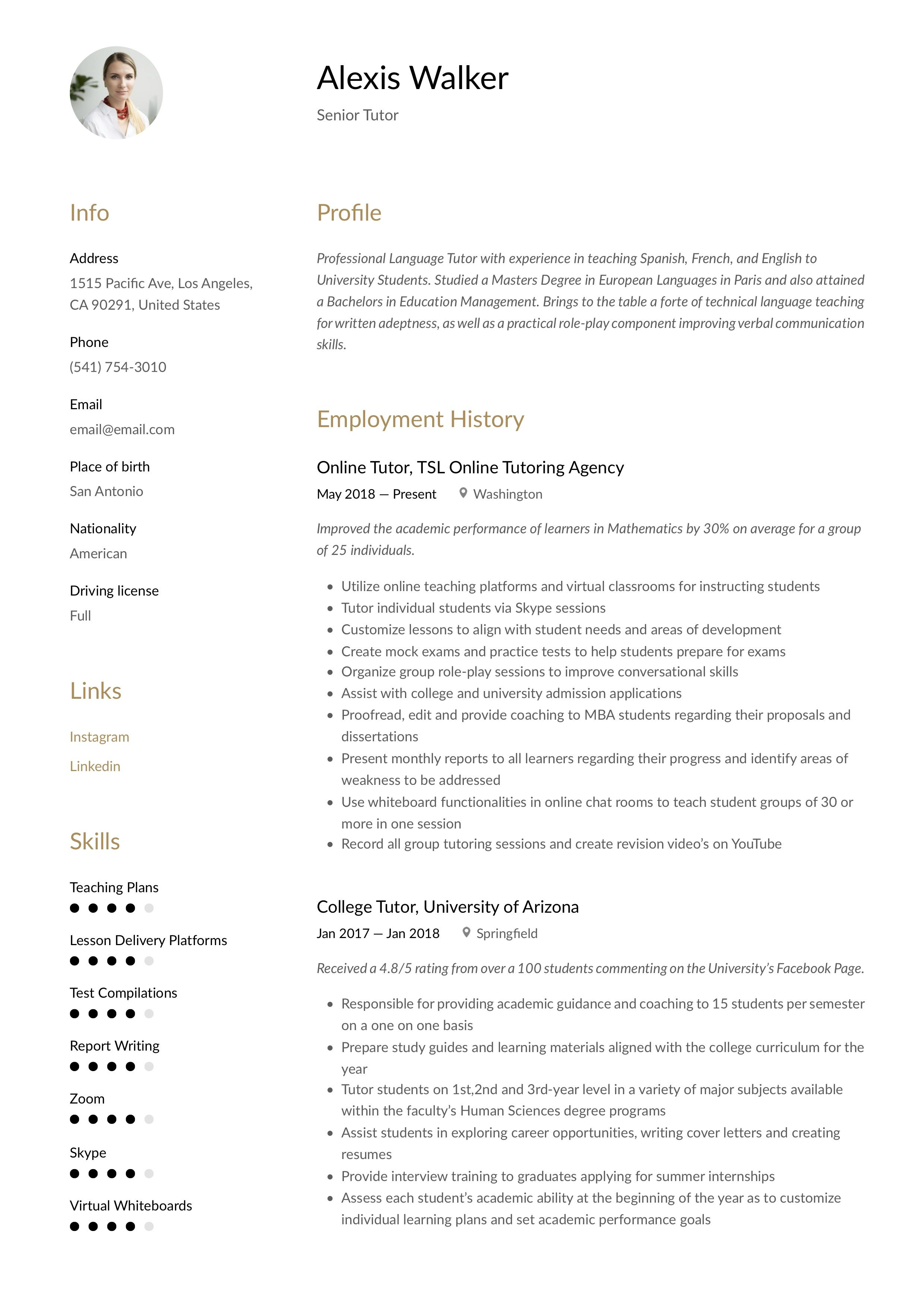 Tutor Resume Template Resume Examples Guided Writing Language Experience