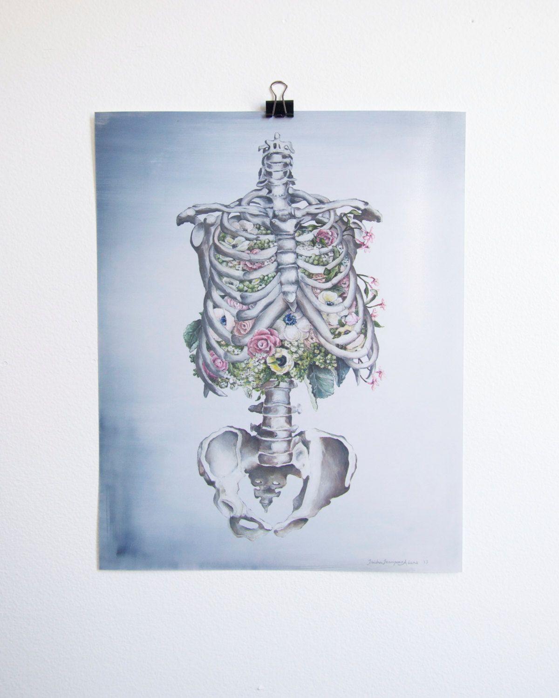 Floral anatomy skeleton print of oil painting
